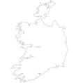 Black White Ireland Outline Map vector image