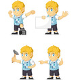 Blonde Rich Boy Customizable Mascot 17 vector image vector image
