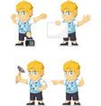 Blonde Rich Boy Customizable Mascot 17 vector image