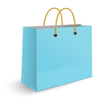 Blue paper shopping bag with yellow rope grips vector image vector image