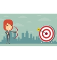 Business woman gets right on target vector image vector image