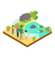 cage with hypopotamuses isometric 3d icon vector image vector image
