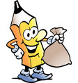 cartoon a pencil standing and holding a money vector image