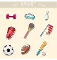 Circular concept of sports equipment sticker vector image vector image