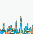 City landscape with colorful geometric graphic vector image vector image