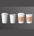 coffee cup takeaway with cover 3d realistic mockup vector image vector image