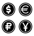 coin icon set euro dollar ruble yen vector image vector image