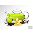 composition of a glass cup and tea pot with green vector image vector image