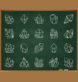 crystal chalk draw line icons set vector image vector image
