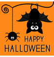 Cute bat and hanging spider Happy Halloween card vector image vector image