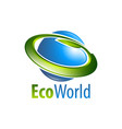 eco world globe circle leaf logo concept design vector image