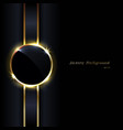 elegant black glossy circles golden border vector image