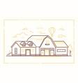 farm house - modern thin line design style vector image