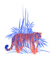 fat tiger standing among the exotic plants vector image vector image