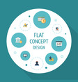 flat icons pie bar tactics mark and other vector image vector image