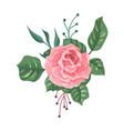 flower cartoon garden pink rose with green vector image