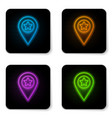 glowing neon map pointer with star icon isolated vector image vector image