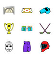 hockey competition icons set cartoon style vector image vector image