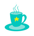 hot cup of tasty tea with star stands on saucer vector image vector image