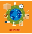 International shipping service flat icons vector image