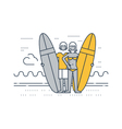 Man and woman on the beach with surf boards vector image vector image