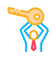 man holding key icon outline vector image
