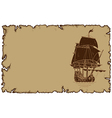 marine theme old parchment with sailboat vector image