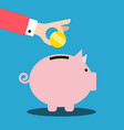money pig and coin in hand on blue background vector image vector image