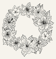 ornament frame with hibiscus flower and leaves vector image vector image