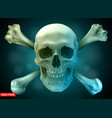 photorealistic human skull with crossed bones vector image vector image