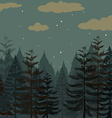 Pine forest at night time vector image