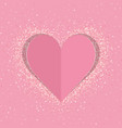 pink paper love heart with shimmer vector image vector image