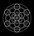 sacred geometry symbol metatrons cube on black vector image