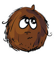 sad coconut on white background vector image vector image