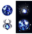 sapphire spider and sapphire gems on black vector image vector image