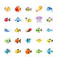 sea animal icons vector image