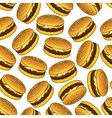 Seamless hamburgers pattern on white background vector image vector image