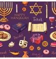 Seamless pattern with Hanukkah symbols vector image