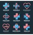 set medical cross logo pharmacy logo design vector image