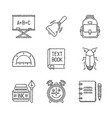 set of school icons in sketch style vector image