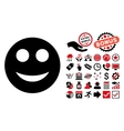 Smile Flat Icon with Bonus vector image vector image