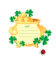 St Patricks design - frame is made of gold pot vector image