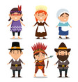 thanks giving card with pilgrims and natives vector image