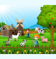 the farmers working in farm with the animals vector image
