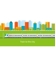 Train on railway with city background vector image vector image