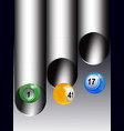 trio of bingo lottery balls out from tubes vector image vector image