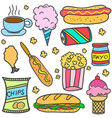 various food style of doodles vector image vector image