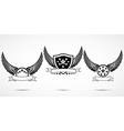 Wing abstract emblem set logo template badge label vector image vector image