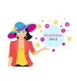 Woman doing shopping close-up vector image