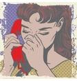 woman talking on phone sad pop art comics vector image vector image